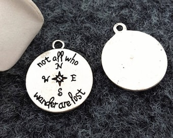 "3 pcs ""Not all who wander are lost"" Tibetan silver charm US Shipper Mailed Quickly!"