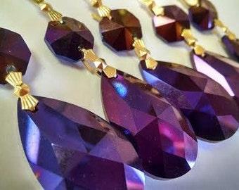 5 Golden Plum Teardrop Chandelier Crystals 38mm Iridescent Purple AB
