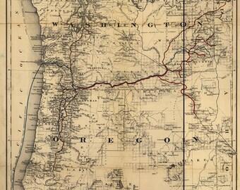 Antique map of Washington,Oregon,1880,ancient,old map,art deco,vintage decor
