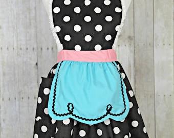 APRON, retro apron, kitchen apron, Lucy apron, black polka dot apron, womens full apron, flirty apron, hostess gift, aprons