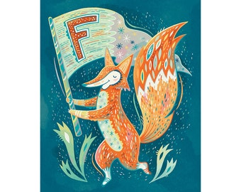 F is for Fox waving a Flag: Alphabet Animals nursery art print in navy and mint