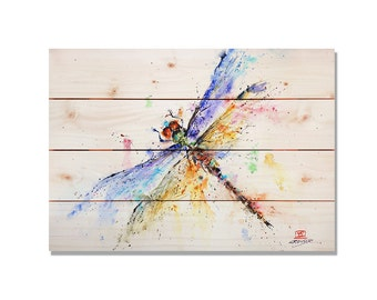 Dragonfly Print on Wood, Dragon Flies Home Decor, Wall Hanging Insect Art, Outdoor Safe Wood Art, Watercolor (DCPD)