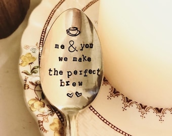 Stamped Silver Spoon - Coffee Spoon - Stamped Coffee Spoon - In Coffee We Trust - Stamped Teaspoon - Vintage Spoon - Silver Spoon - Tea