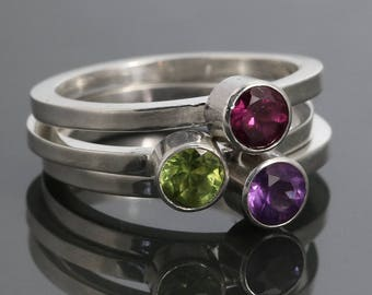 3 Stackable Rings: Genuine Gemstone Rings. Sterling Silver. Stacking Rings. Made to Order.