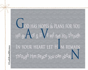 Baptism Gift Boy Gift From Godparents Baby Christening Gifts Baptism Print Christian Baby Gift Religious Decor Personalized Poem 8x10 Gavin