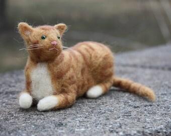 Needle Felted Orange Tabby/Ginger Cat