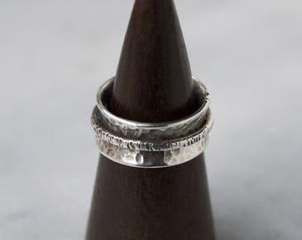 Hammered Meditation Ring in Argentium Silver