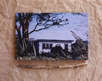 Blank Greeting Card, Linocut Beach House Greeting Card, Card with Envelope