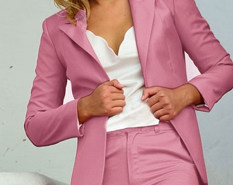Wool  suit pink wool smoking suit set wool Luxury work chic  Classic design Perfect colours