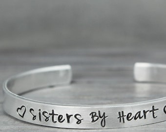 Best Friends Bracelet, Sisters By Heart Cuff, Hand Stamped Jewelry, Sister Jewelry, Hand Stamped Cuff,  Personalized Jewelry