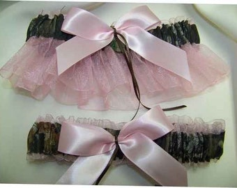 Mossy Oak Break up PINK sheer bridal garter set Black, Pink, Brown, ivory,  blue any color sheer Wedding