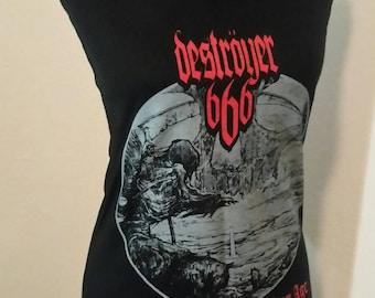 Destroyer 666 ladies handmade DIY halter top black metal heavy metal thrash metal death metal band shirt