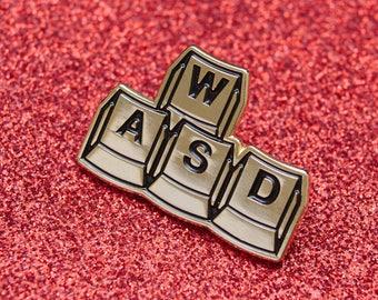 WASD | Play Enamel Pin  | Box Controller Enamel Pin | Super Controller Enamel Pin | GamePerson | Soft Enamel Pin | Video Gamer Enamel Pin