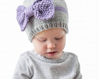 Big Bow Baby Hat KNITTING PATTERN / Big Bows / Newborn Baby Bow Hat / Seed Stitch Knitting / Beanie with Bow / Easy Knit Pattern / Knit Bows
