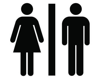 Bathroom Sign Icon #1 Men Woman Gentlemen Ladies Girls Boys Restroom Icon Symbol Logo .SVG .EPS .PNG Clipart Vector Cricut Cut Cutting File