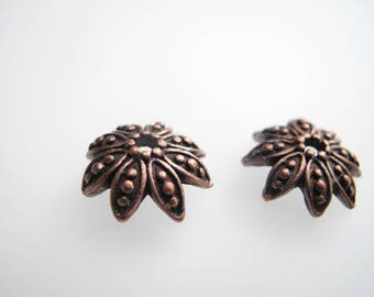 """Flower"" copper bead 12 mm bead caps"