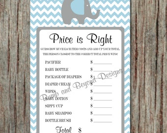 Elephant Price is Right Digital Game Powder Blue Grey Chevron Baby Shower Elephant Printable Baby Shower Games Instant Download - 014