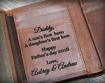 Trifold Mens Wallet - Personalized Mens Wallet - Leather Wallet for Men - RFID Mens Wallet for Him - Gift for Dad - Wallet Toffee 7133