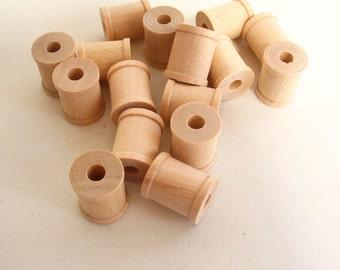 "50 Miniature Wooden Spools  3/4""x5/8""x 7/32"" hole -Wooden Spools Decorative -Small Spools -Natural Wooden Spools -Unfinished Wooden Spools"