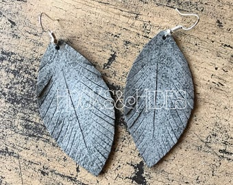 Gray Shimmer Feathers | leather earrings, lightweight earrings, feather earrings, grey, gray, feathers