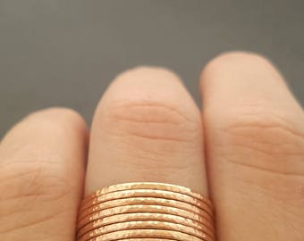 Rose Gold Stacking Rings choose quantity super thin textured rings gift for mum best friend sister daughter stackable rings