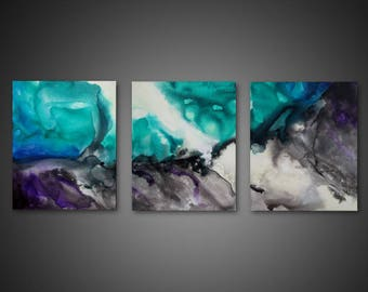 Abstract Canvas Art - 3 piece wall art, ORIGINAL abstract art painting, triptych canvas art, large canvas art, modern painting on canvas
