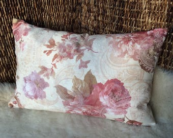 Rustic House pillow rose, pillow cover Cottage 38 x 56 cm