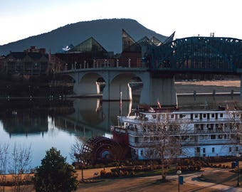 Delta Queen Steamboat on the Tennessee River, Chattanooga, Chatt Sternwheeler, Riverboat, Boat Photos, Coolidge Park, River Boat Print
