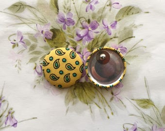 Oversized Button Earrings / Statement Jewelry / Pop of Color / Small Gifts / Stud Earrings / Yellow Paisley / Made in USA / Wholesale