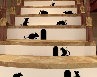 Mouse and holes wall art , decal , sticker set