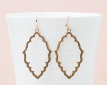 Moroccan dangle earrings, Dangle earrings, Outline earrings. SImple gold earrings, Bohemian earrings, Geometric earrings, Dainty earrings