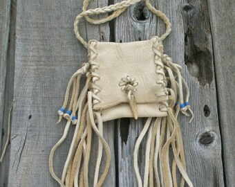 Shaman's bag ,Tribal medicine bag , Fringed leather amulet bag , Leather neck bag
