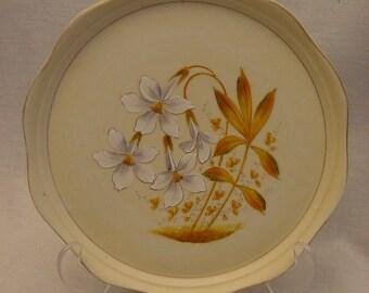 Vintage Victoria Carlsbad Porcelain Dresser Tray Austria Hand Painted Alpine Lilies Gold