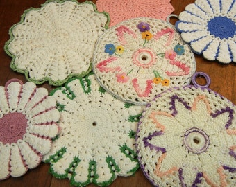 7 vintage pot holders, crochet, hot pads, trivets, midcentury, crochet