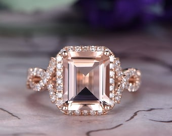 8x10 Emerald Cut Morganite Engagement Ring,14k Rose Gold,Anniversary ring,Art deco Halo,Half Eternity,Infinity band,Petite pave,Gift for her