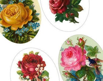 Rare Victorian Roses - 30x40 mm Oval Digital Collage Sheet - Digital Sheet - Weekly Promotion Sale