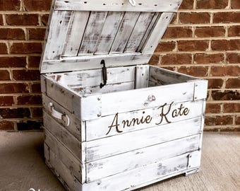 Rustic White Child's Wood Chest