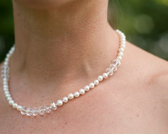 Knotted pearl and Swarovski crystal necklace