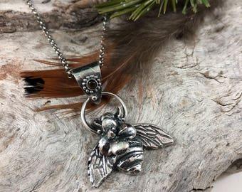 Bee and succulent Necklace, rustic, artisan, metalwork, handmade, boho, gypsy