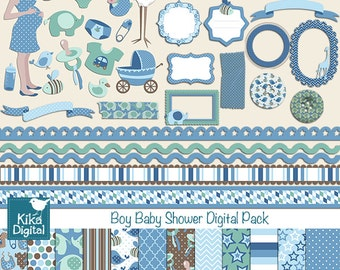 Boy Baby Shower Digital Clipart and Paper COMBO - Scrapbooking , card design, invitations, paper crafts, web design - INSTANT DOWNLOAD