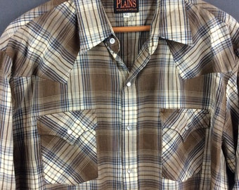Vintage Western Pearl Snap Shirt Mens Snap Shirt Plaid Western XL 2X