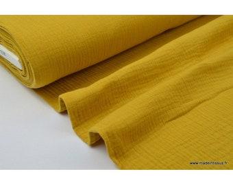 Fabric Double gauze cotton yellow mustard .x1m