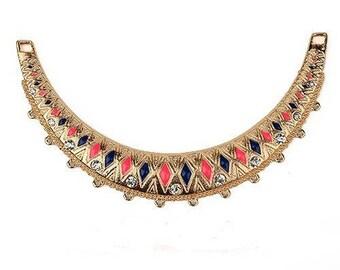 1 medium bib necklace Golden half moon metal with enamel and rhinestones