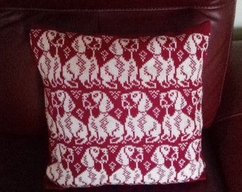 Handmade knitted Wire haired Dachshund Cushion cover complete with infill