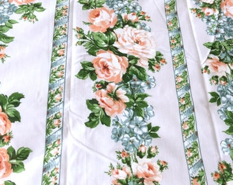 Queen Flat Sheet Rows of Peach Roses by Montgomery Ward New in Package Vintage Bed Linens
