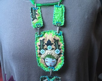 Textile jewelry: Green Elf