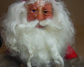 Antique motorcycle santa, contemporary red suited santa, Hand sculpted one of a kind.