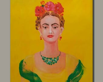 Frida Kahlo inspired portrait original painting,  figurative painting, woman, female figure and face, yellow painting