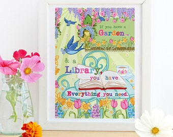 If You Have A Garden & Library - A4 Unframed Illustration Print