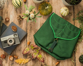 Dark Green Mini Backpack, Waterproof backpack for women with a cute leaf motif for plant lovers gift